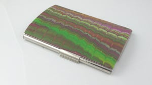 Image of Pink-and-lime-green chevron marbled polymer card case (Marbled Collection)