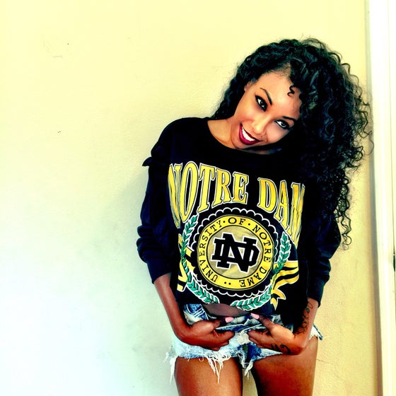 Image of Ruffle Notre Dame Cropped Crew