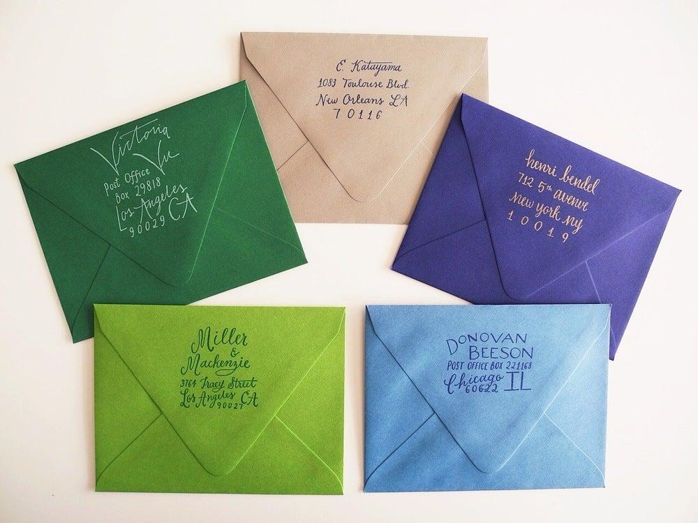 Image of Custom calligraphy return address stamp