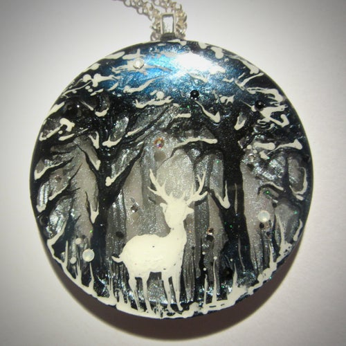 Image of Winter Stag Large Round Resin Pendant