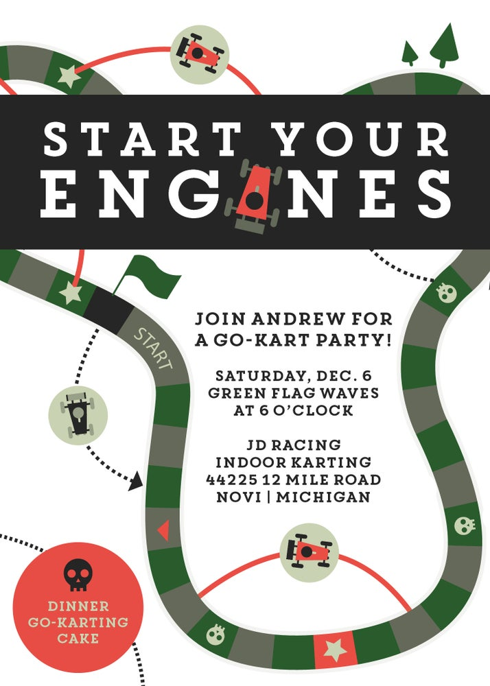 Image of Go Kart/Racing Party Invitation