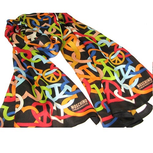 Image of SOLD OUT Moschino Scarf -Authentic Cheap and Chic Black Peace Sign Silk Scarf
