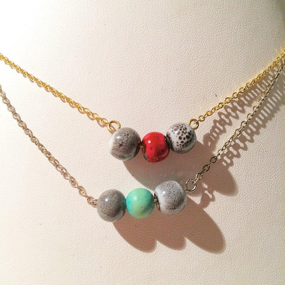 Image of DULCE Ras de cou argent et turquoise / existe en doré et tourmaline rouge