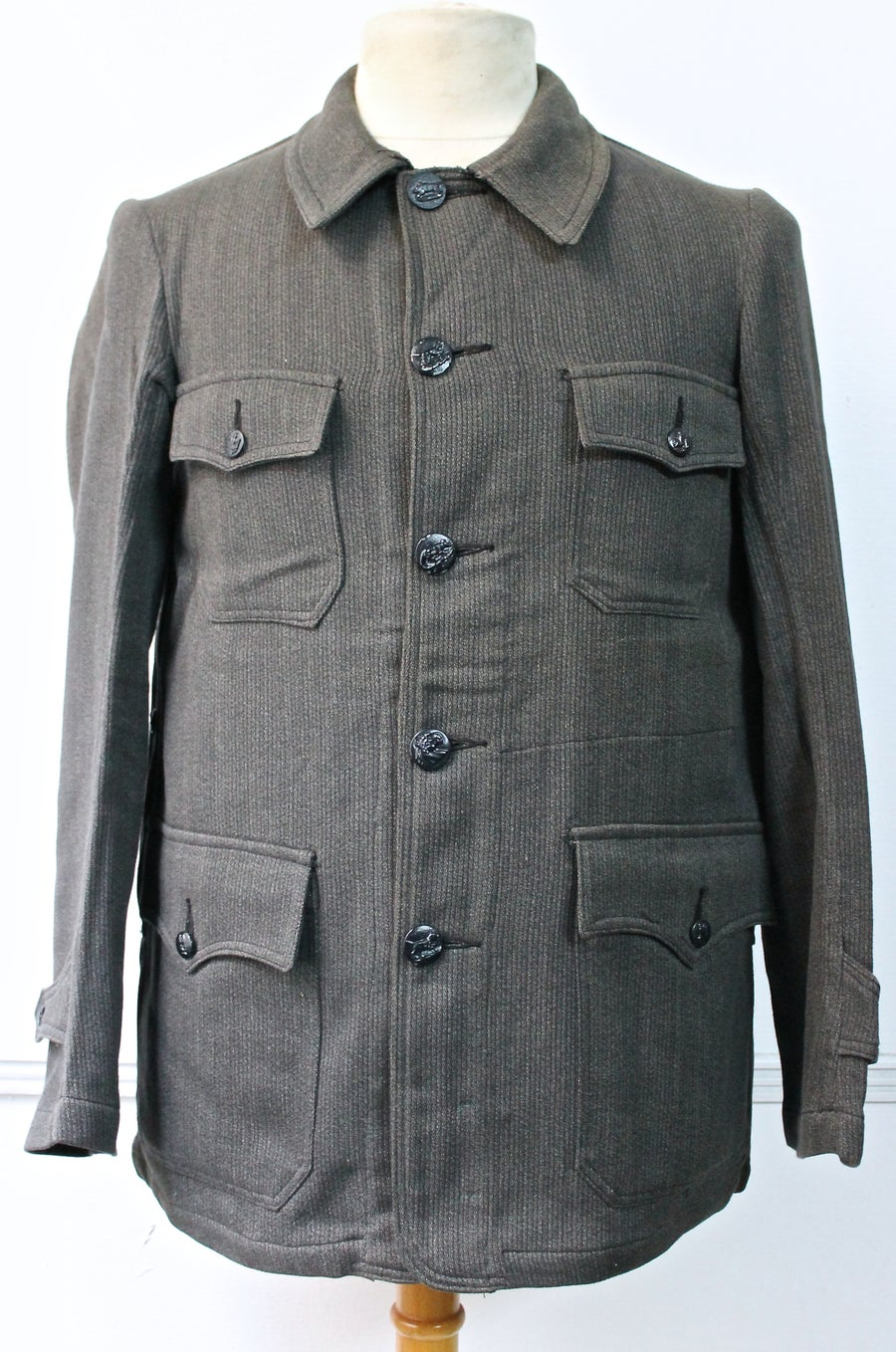 Image of 1950's FRENCH HUNTING SALT N' PEPPER BEDFORD CORD JACKET DEADSTOCK