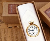 Image of Man's single Handkerchief -Gold Pocket Watch