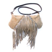 Image of zippered leather shoulder bag with fringe (suede + lace)