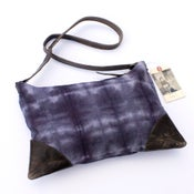 Image of large zippered shoulder bag in hand dyed canvas