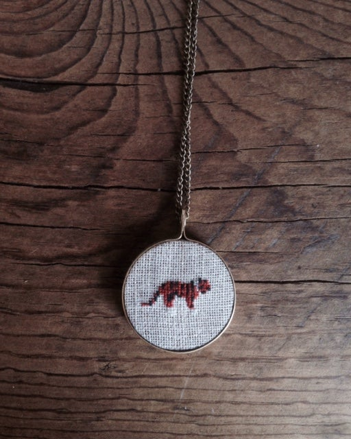 Image of Tiger Cross Stitched Pendant