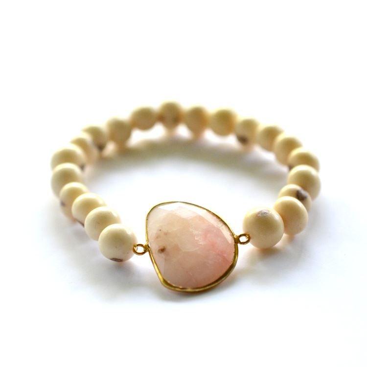 Image of Pink opal acai seed stretch bracelet