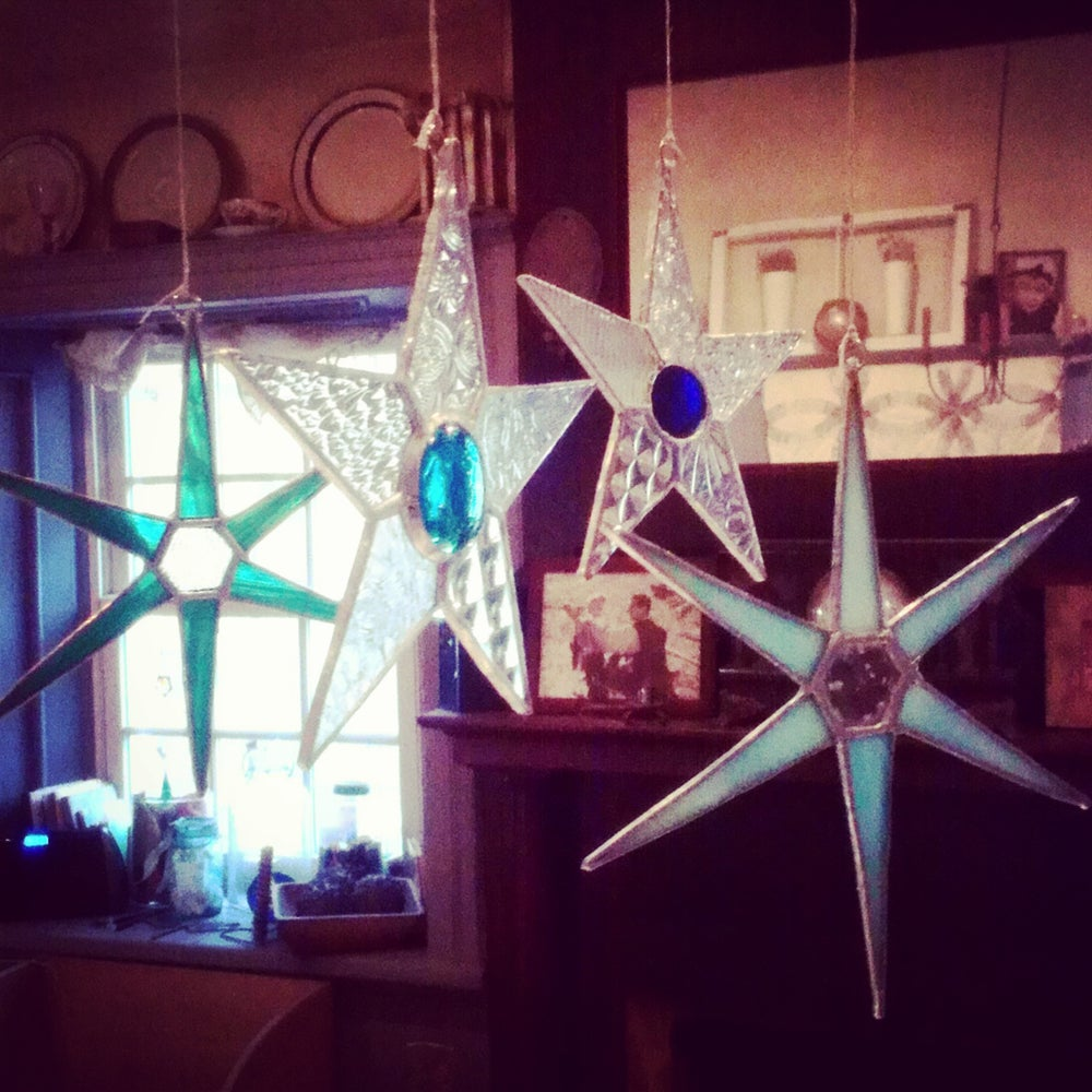 Image of Set of  4 Frosty Stars-Christmas stained glass