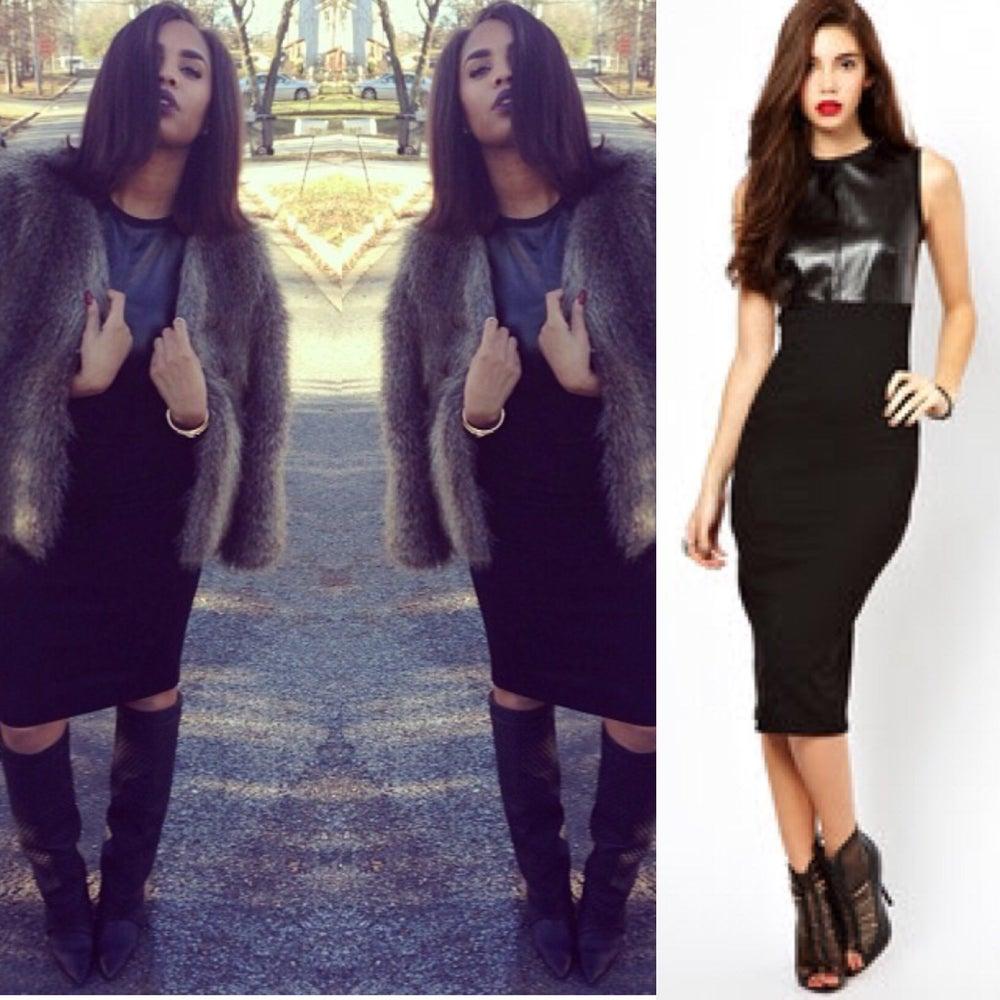 Image of Leather Midi Dress