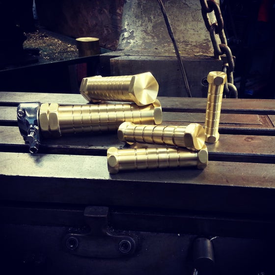 Image of  Hexogram Brass Hand Grips, Foot Pegs and Toe Shift/Brake Peg