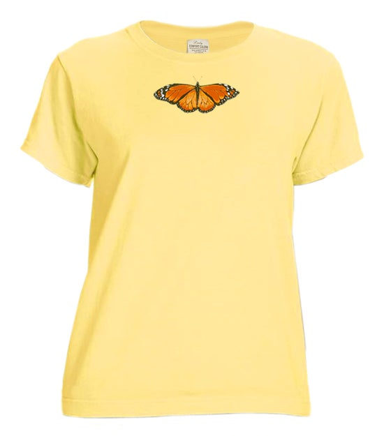 Image of Ladies Monarch Butterfly garment dyed t-shirt
