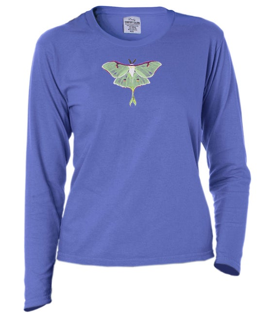 Image of Ladies Luna Moth garment dyed long sleeve t-shirt