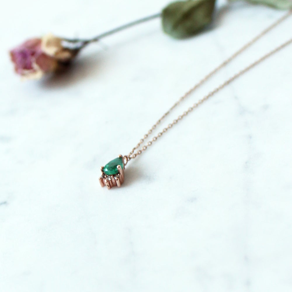 Image of Tiara Teardrop Emerald Neckalce