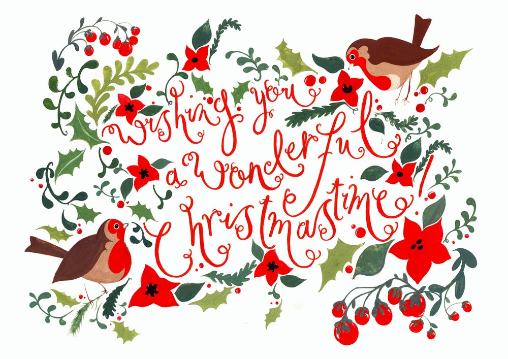 "Image of ""Wishing You a Wonderful Christmas"" Pack of 10 Illustrated Cards by Jessie Bayliss"