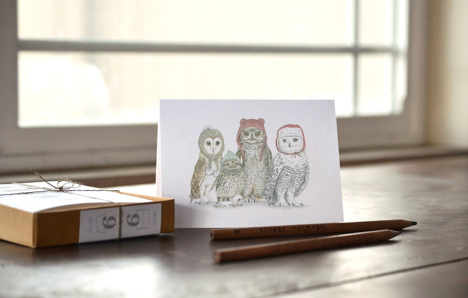 Image of Winter Owls in Winter Hats.. boxed holiday note card set