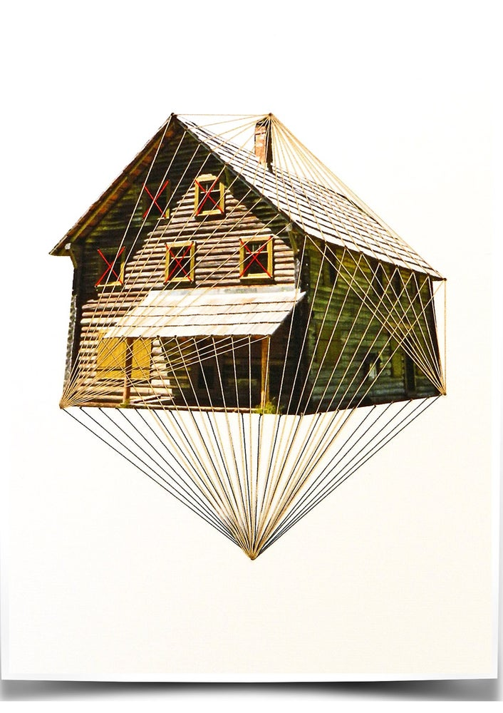 "Image of Original hand threaded art work:""Float"""