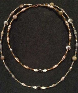 """Image of Handcrafted Drop Necklace Brown, White & Bronze Paper Beads 8"""" Drop"""