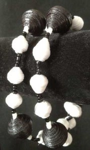 Image of Handcrafted Black and White Wrap Bracelet Made with Handcrafted Paper Beads