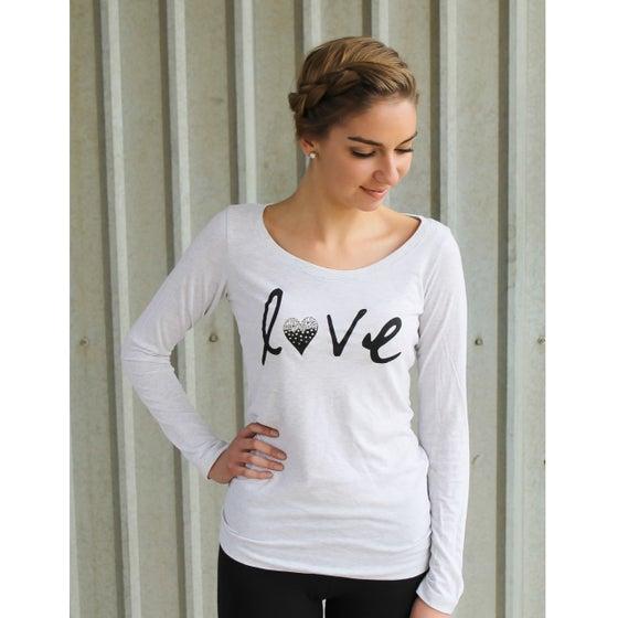 "Image of ""Love"" long-sleeved shirt with Swarovski Rhinestones- Heather White"