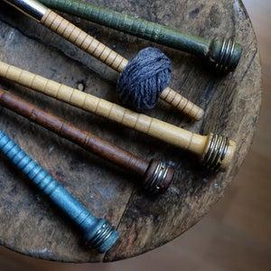 Image of Vintage fiber mill spindles