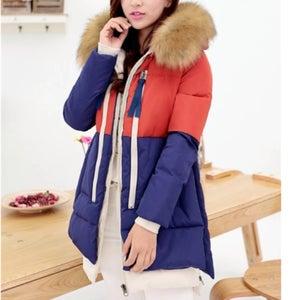 Image of Color Block Down Coat