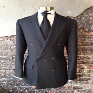 Image of Dark Grey Double Breasted Wool Suit