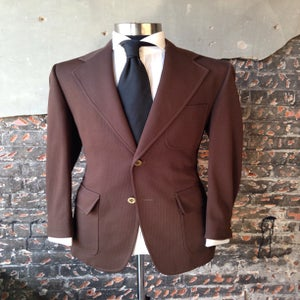 Image of Textured Brown Blazer-Gold Buttons