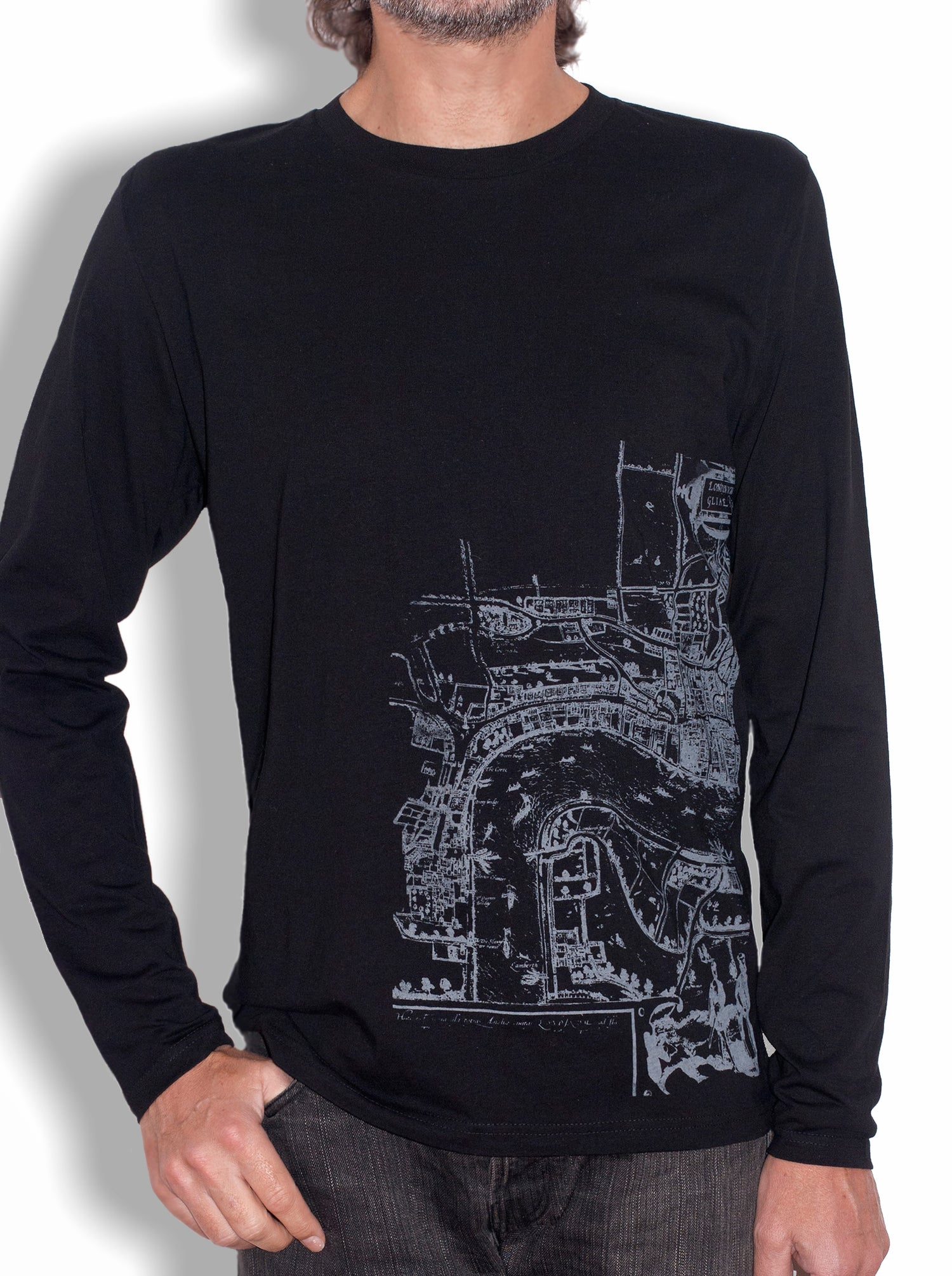 "Image of MEN'S ORGANIC COTTON LONG SLEEVE Black T-SHIRT ""Londinium - London Old Map"""