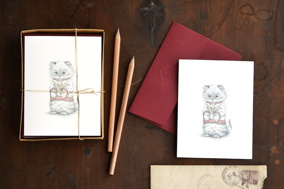 Image of Kitten in Christmas Sweater boxed note card set