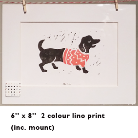 Image of 2 colour lino print - Sausage Dog