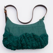 Image of large tough ruffles shoulder bag in deep blue-green