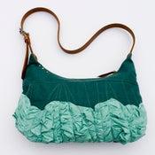 Image of large tough ruffles shoulder bag in sea glass + aqua
