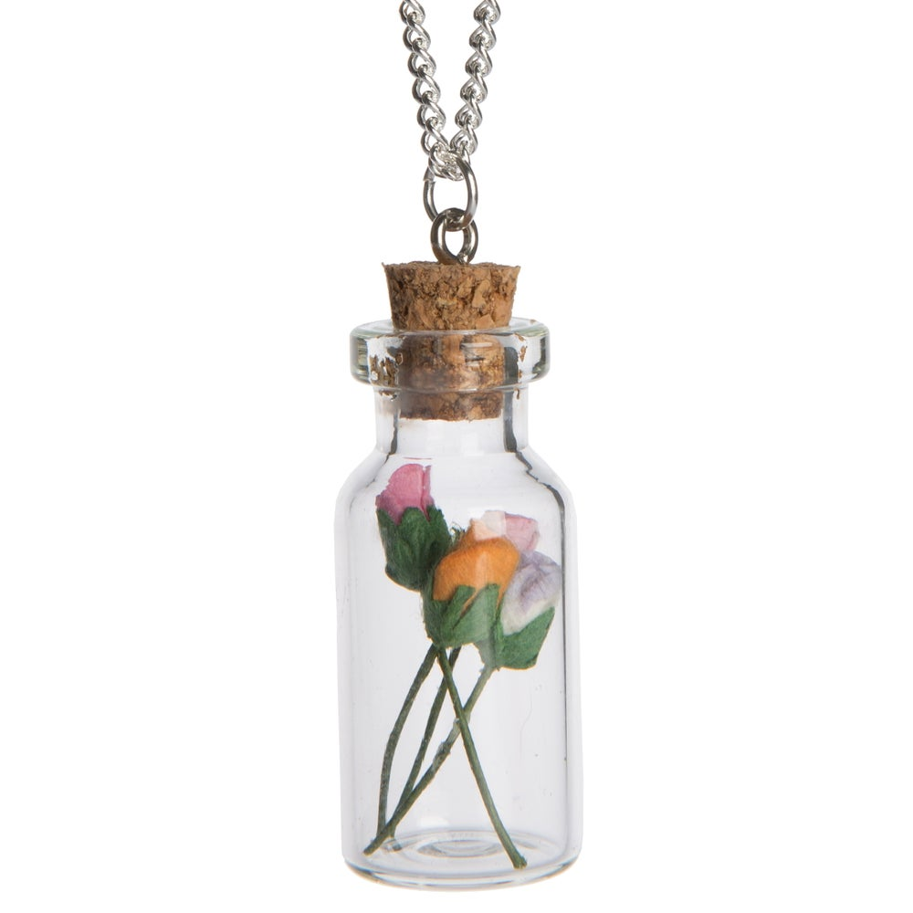 Image of Vintage Rose Glass Bottle Necklace