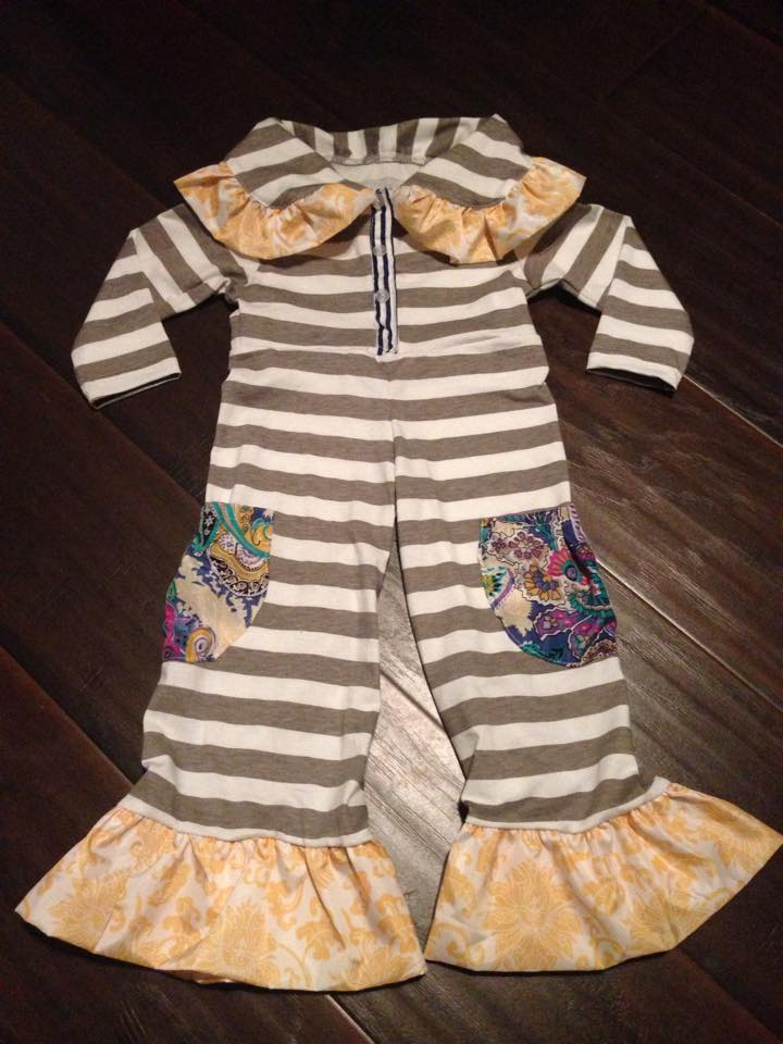 Image of Gray Stripe Romper with Pockets Persnickety Inspired Ruffled with Collar