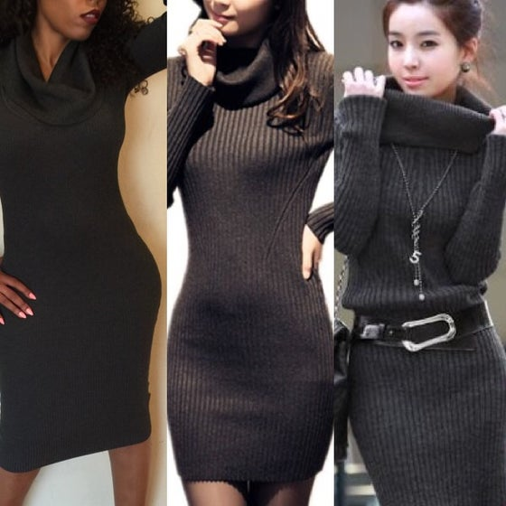 Image of Charcoal grey Slouch neck Sweater Dress