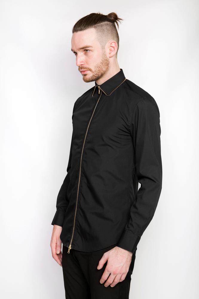 Image of Ⅲ Gold/Black Zip Shirt