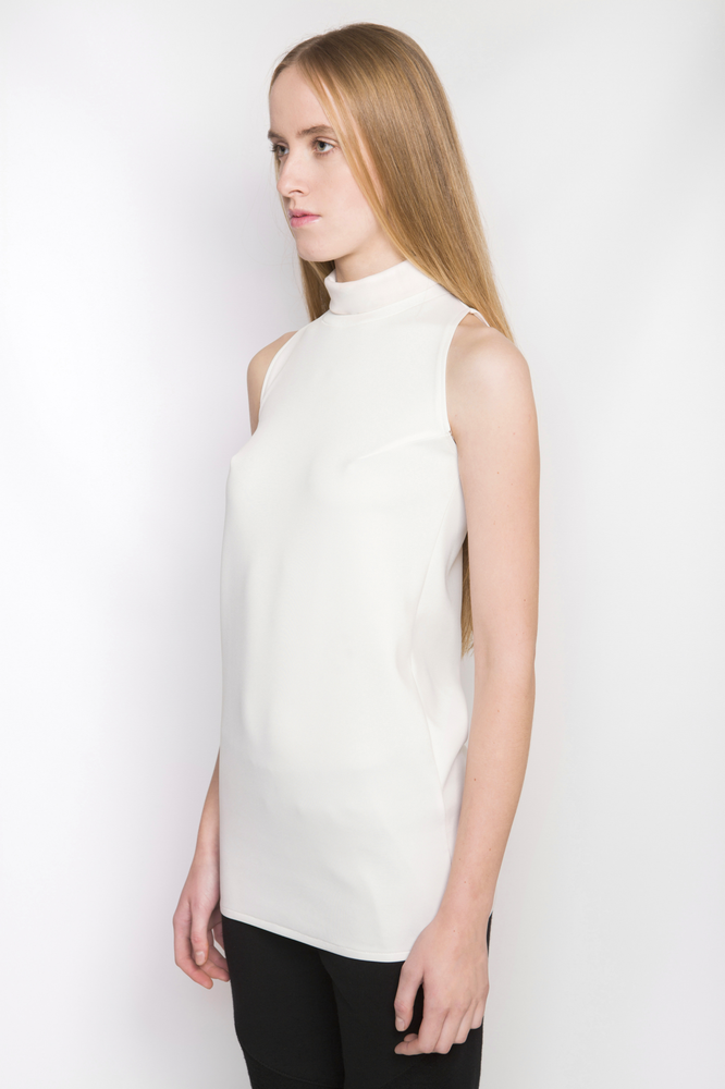 Image of Ⅲ Turtle Neck Ivory Lightweight Neoprene Dress/Top