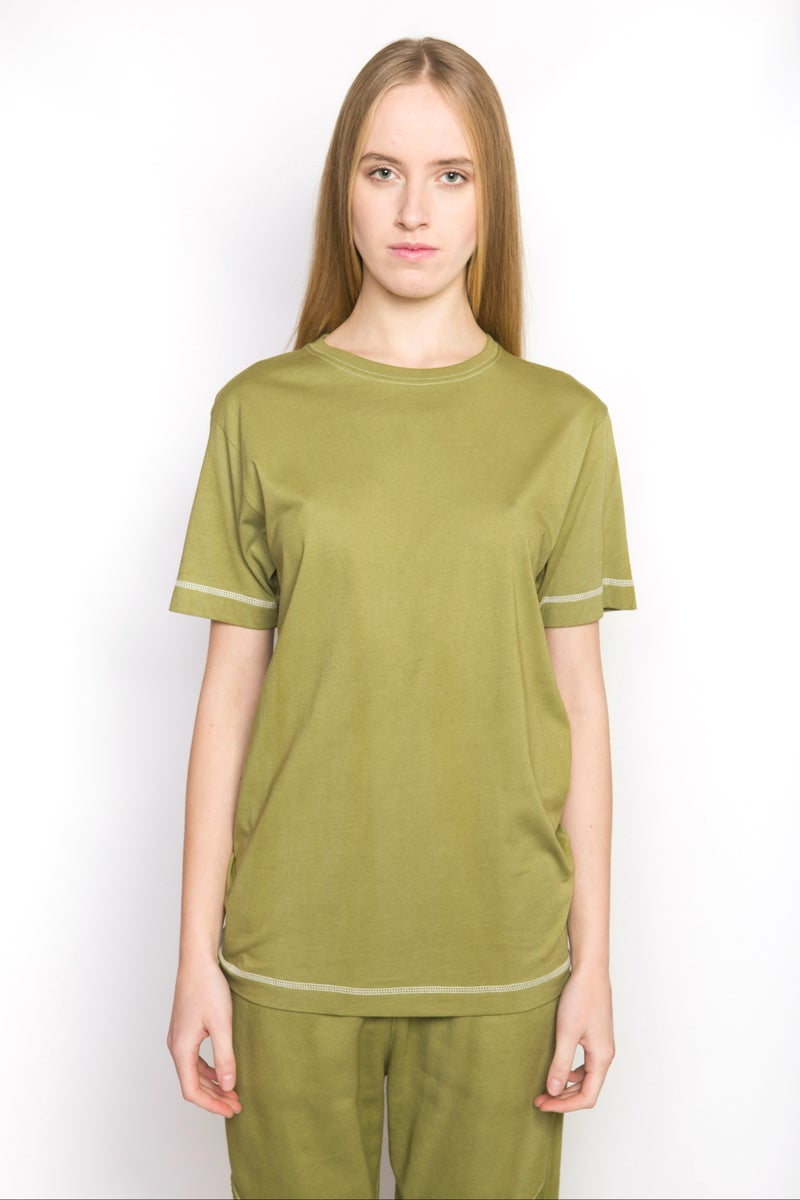 W Basic Olive Green T Shirt Arsalan
