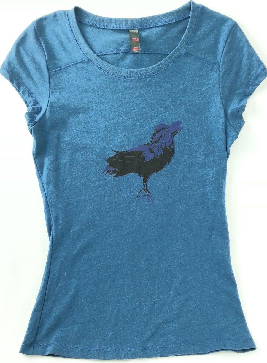 Image of Purple raven on deep teal AgiliTEE