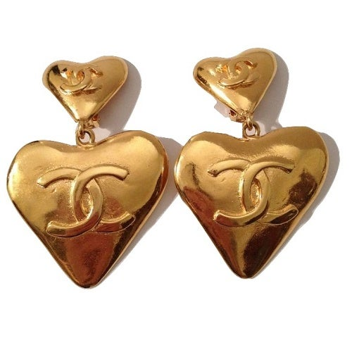 Image of SOLD OUT Chanel Jumbo Authentic Vintage Heart Earrings - MINT CONDITION