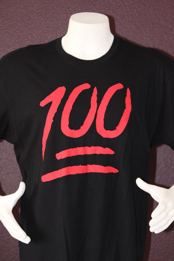 "Image of The 100 Tee ""Black / Red"""