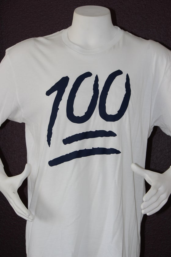 "Image of The 100 Tee ""White / Navy Blue"""