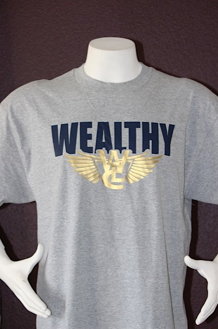 "Image of Wealthy Flight Tee ""Light Grey / Navy Blue"""