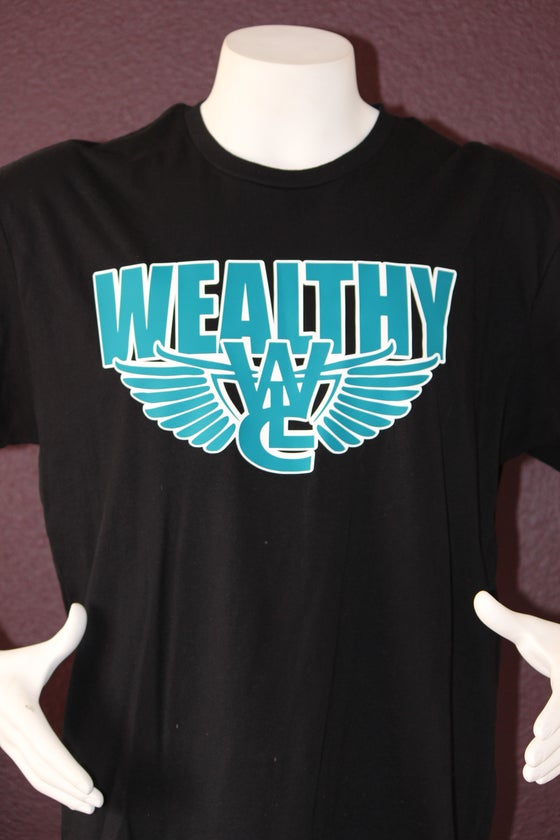 "Image of Wealthy Flight Tee ""Black / Teal"""