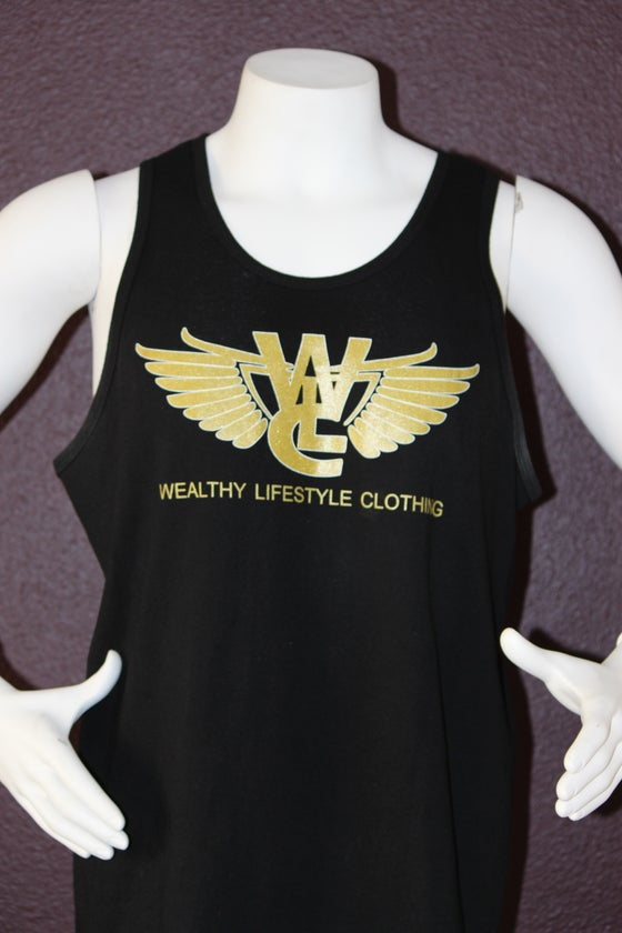 "Image of Wealthy Flagship Tank Top ""Black / Gold"""