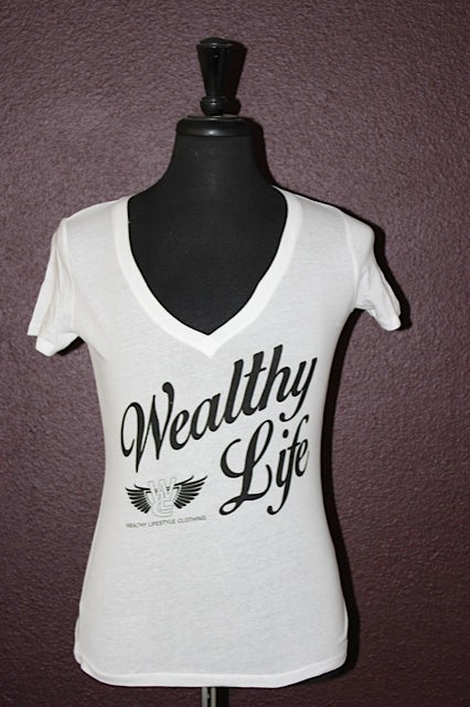 "Image of Women's Wealthy Life Tee ""White / Black"""