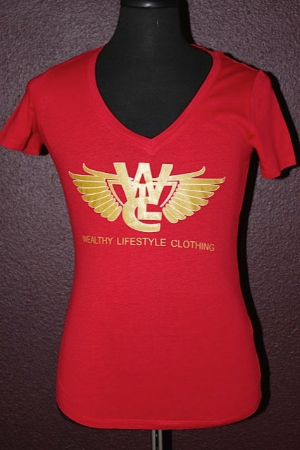 "Image of Women's Flagship Tee ""Red / Gold"""