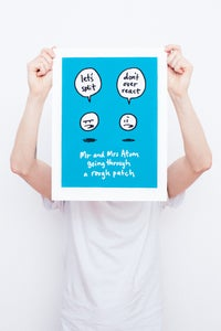 Image of Mr and Mrs Atom Going Through A Rough Patch - Framed Screenprint